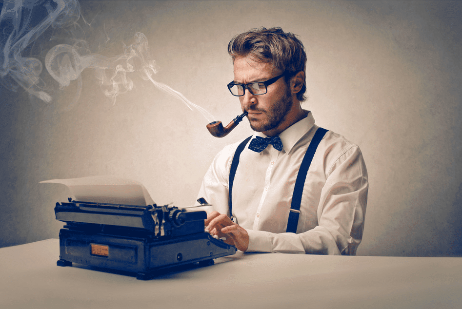 man typing memory